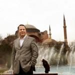 Serif Yenen in front of the Hagia Sophia